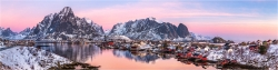 Panoramabild Polarmorgen in Reine Lofoten Norwegen