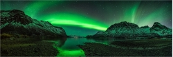 Panoramabild Aurora Borealis Polarlicht in Norwegen