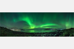 Panoramabild Polarlicht Aurora Borealis in Norwegen