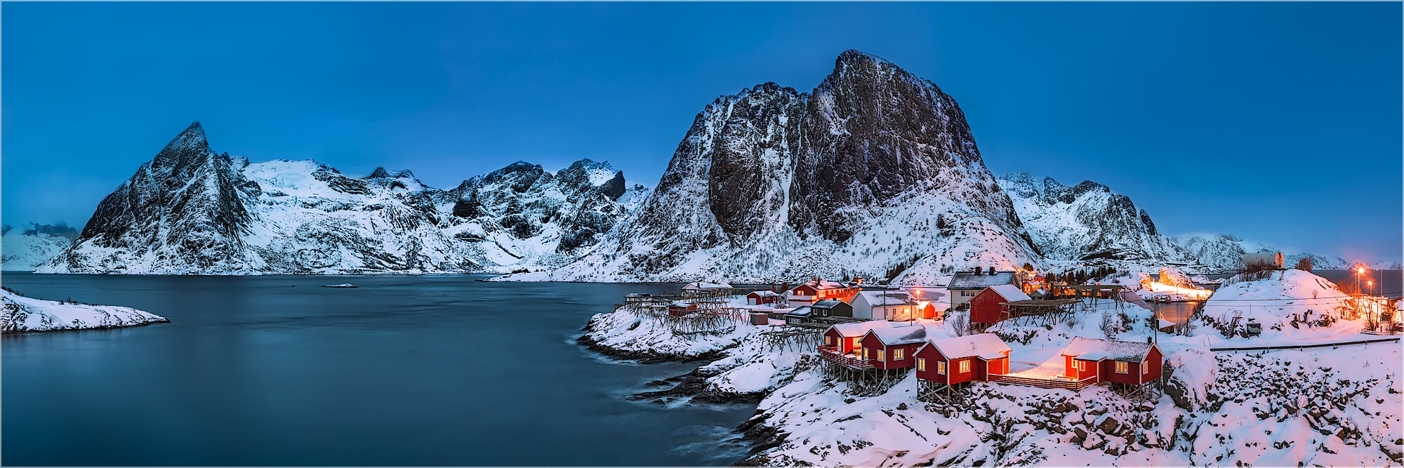 Panoramabild Polartag in Hamnøy Lofoten Norwegen