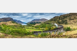 Panoramabild Glenfinan Viadukt Jacobite Train Schottland