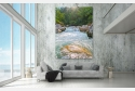 Wohnbeispiel Wandbild auf Leinwand unter Acrylglas als dimmbares LED Leuchtbild und Echtglasbild erhältlich