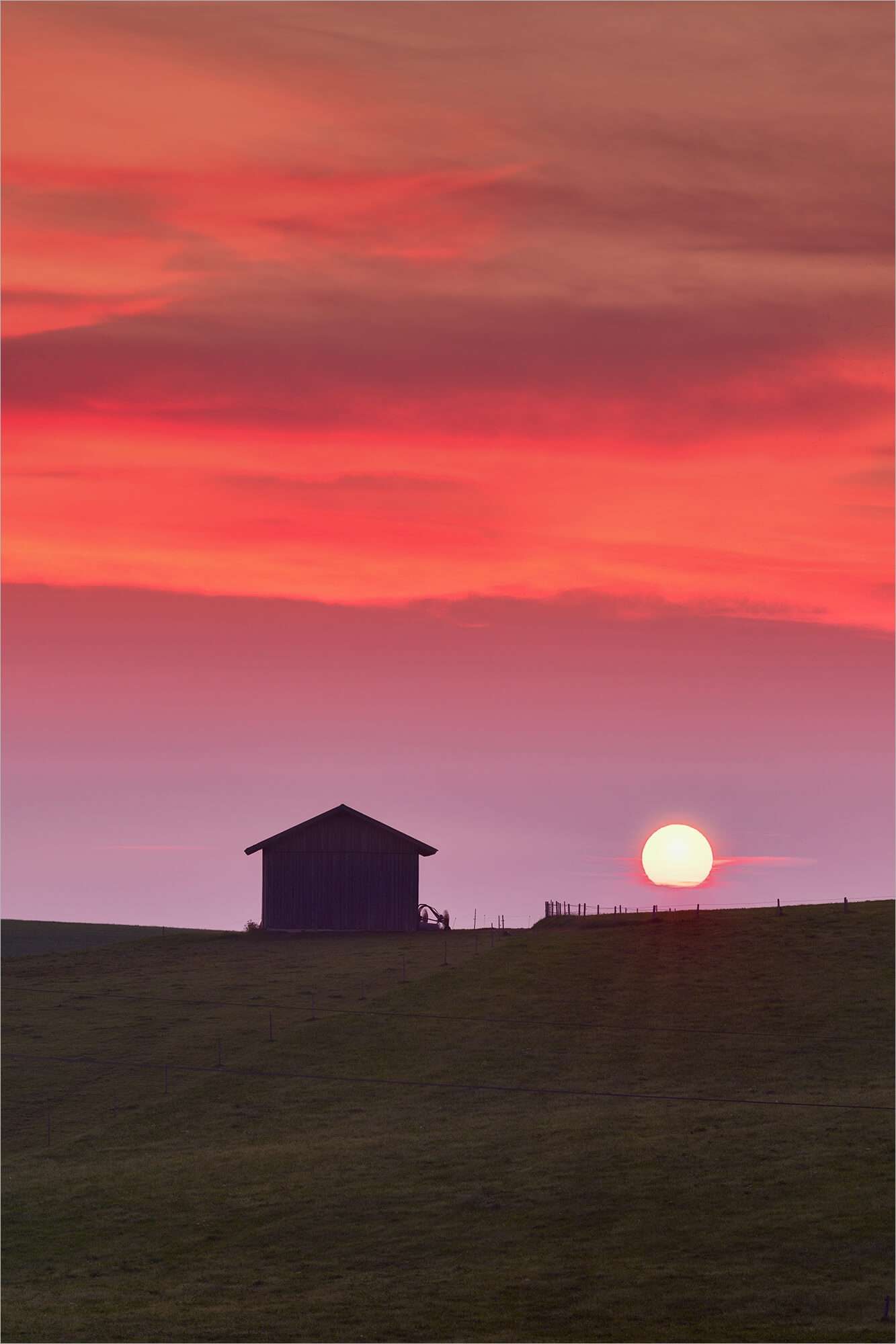 Wandbild Sonnenaufgang im Feld